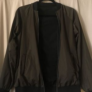 Reversible Black Olive Bomber Jacket